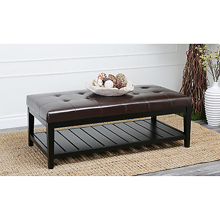 Montgomery Tufted Leather Coffee Table Ottoman