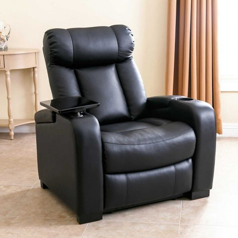 Larson Leather Power Reclining Home Theater Chair, Black