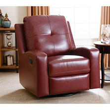 Stevens Leather Swivel Glider Recliner, Red