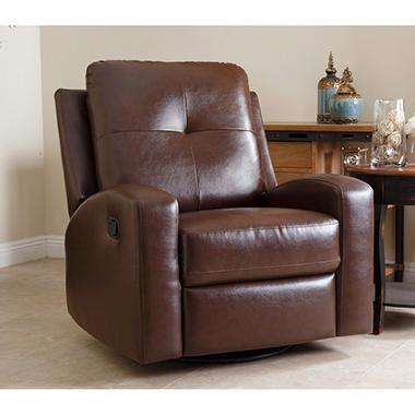 stevens leather swivel glider recliner brown