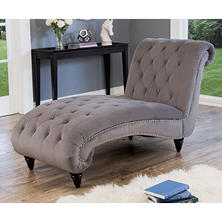 Tiffany Grey Velvet Chaise