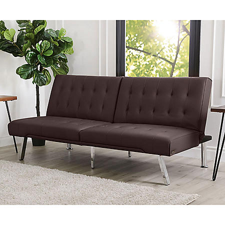 Kenzie Leather Foldable Futon Sofa Bed (Assorted Colors)