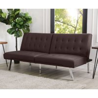 Abbyson Living Kenzie Leather Foldable Futon Sofa Bed (Dark Brown)