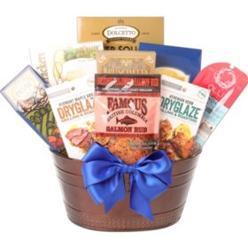 Happy Father's Day Copper Metal Gift Basket
