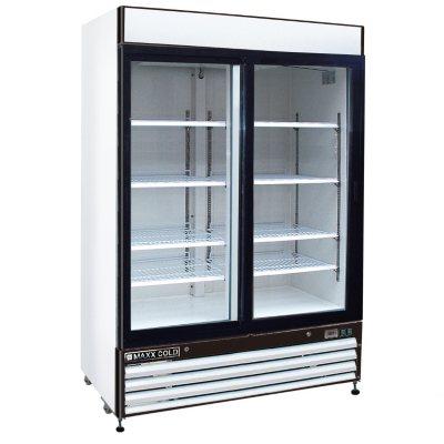 Maxx Cold X Series Double Door Merchandiser Refrigerator In White (48 Cu. Ft