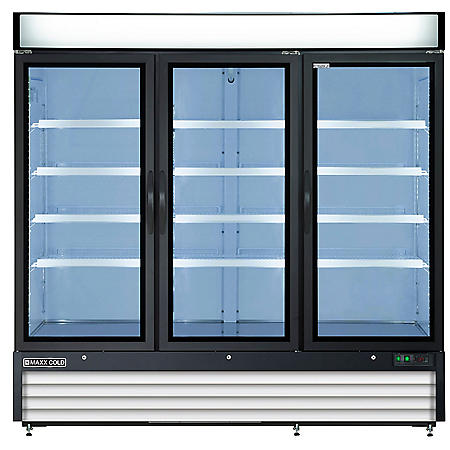 Maxx Cold X-Series Triple Door Merchandiser Refrigerator in Black (72 cu. ft.)