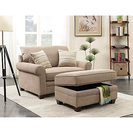 Douglas Chair and Storage Ottoman