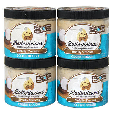 Batterlicious Edible Cookie Dough, Sinfully S'mores (1 pint jar, 4 ct.)