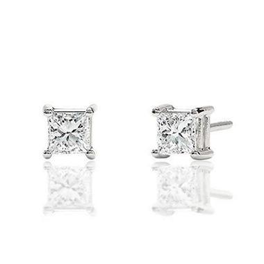 T W Princess Diamond Earrings H I I1