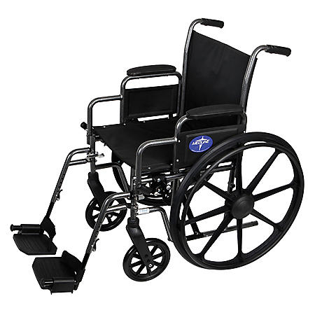 "Medline K3 Basic Wheelchair with Desk Length, Removable Armrests and Detachable Footrests (16"" x 16"" Seat)"