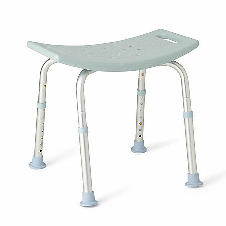 Backless Medline Bath Bench with Microban, Light Blue
