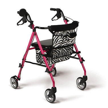 Medline Posh Pink Rollator Walker with Zebra Storage Bags and 6