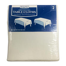 "Daily Chef Rectangular 54"" x 120"" Tablecloth, White (2 pk.)"