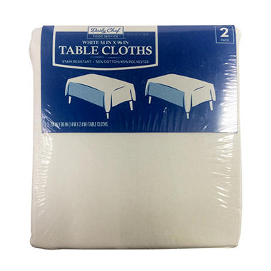 Daily Chef Rectangular Tablecloth, White (54