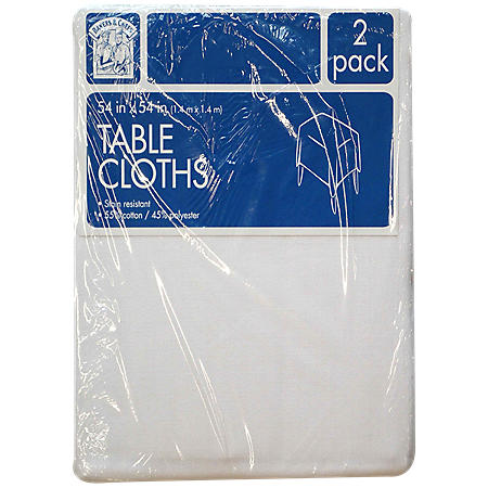 """Bakers & Chefs Square Tablecloth - White - 54"""" x 54"""" - 2 pk."""