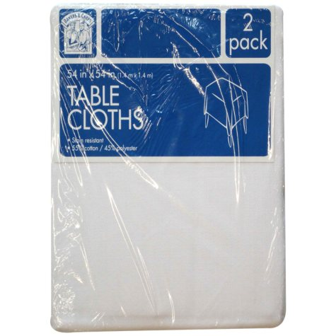 "Bakers & Chefs Square Tablecloth - White - 54"" x 54"" - 2 pk."
