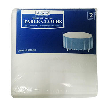 Daily Chef Round Tablecloth, White (90