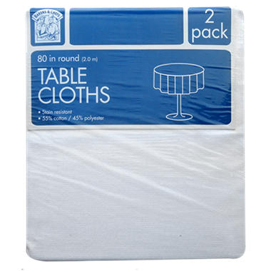 Bakers & Chefs Round Tablecloth - White - 80