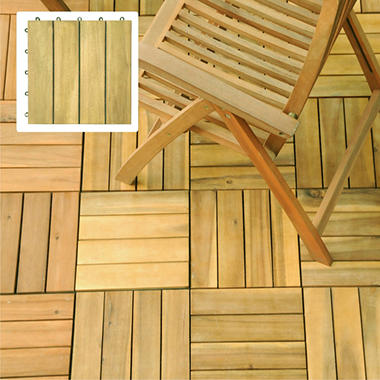 Interlocking Deck Tile - 4 Slat Style - Acacia