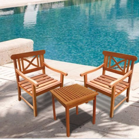 Atticus FSC Eucalyptus Outdoor Square Table and 2 Armchair Set