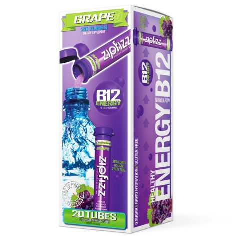 Zipfizz Energy Drink Mix, Grape (20 ct)