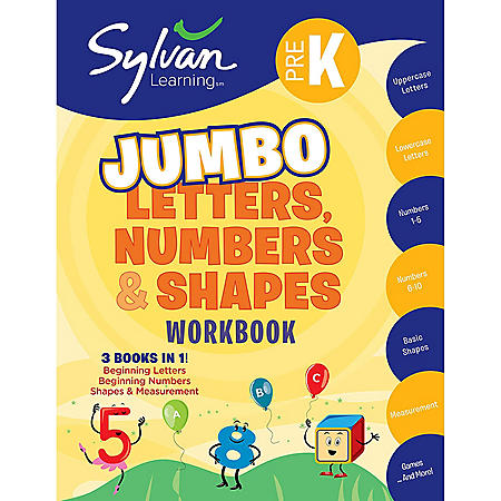 Pre-K Letters, Numbers and Shapes Jumbo Workbook: Activities, Exercises, and Tips to Help Catch Up, Keep Up, and Get Ahead