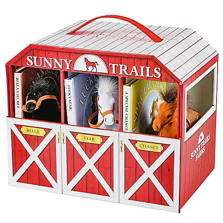 Sunny Trails Farms 3 Books & Play Horse Stable Barn Playset