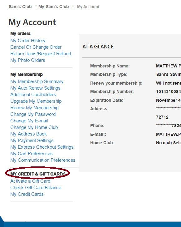 Samsclub Com Account Credit Gift Cards
